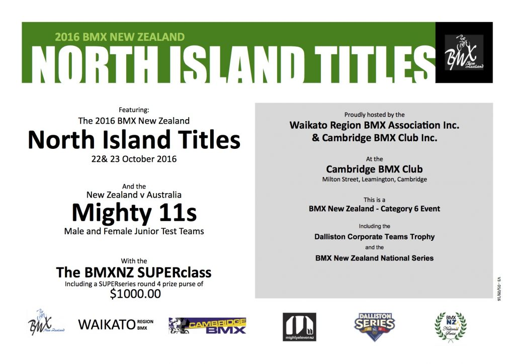 2016 North Island Titles Flyer