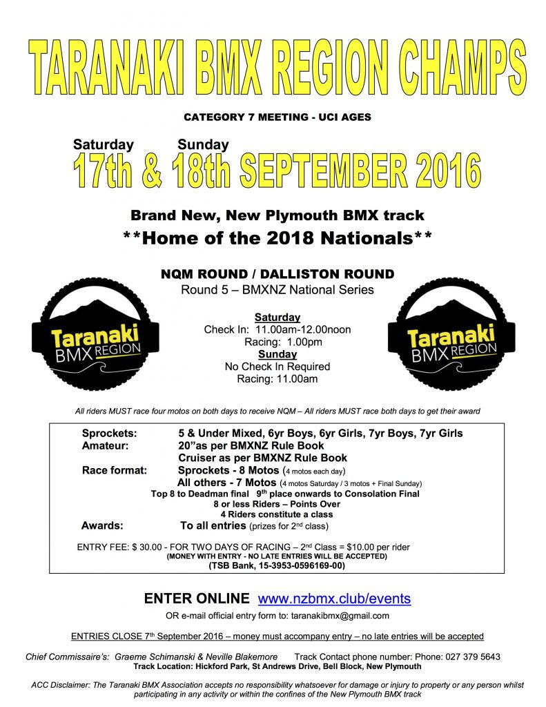 2016 Taranaki Region Champs Flyer