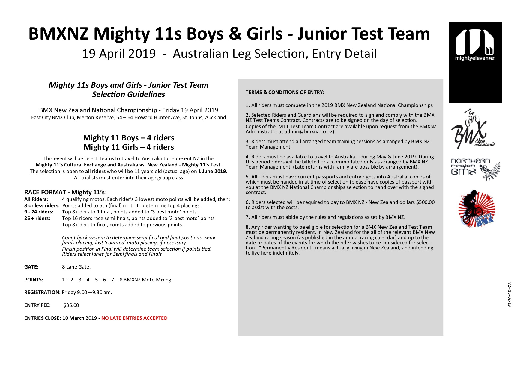 outlet store 691b0 16cd6 Upcoming Events | 2019 BMXNZ Mighty 11s Boys & Girls ...